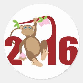 2016 Chinese Monkey on Tree with Longevity Fruits Classic Round Sticker
