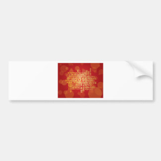 2016 Chinese New Year English Greetings Red Backgr Bumper Sticker