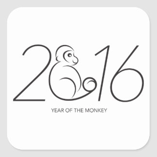 2016 Chinese New Year Monkey Numerals Line Art Square Sticker