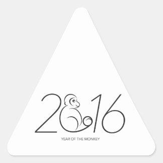 2016 Chinese New Year Monkey Numerals Line Art Triangle Sticker