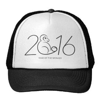 2016 Chinese New Year Monkey Numerals Line Art Trucker Hat