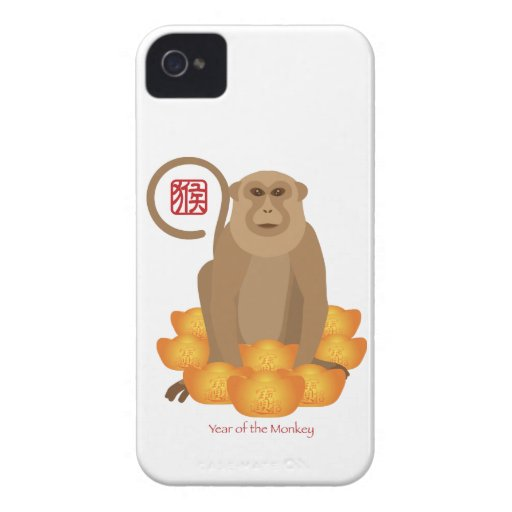 2016 Chinese Year of the Monkey with Gold Bars iPhone 4 Cases