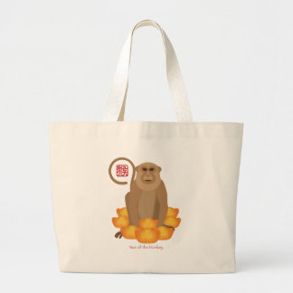 2016 Chinese Year of the Monkey with Gold Bars Large Tote Bag