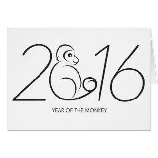 2016 Chinese Zodiac Monkey Line Art Drawing Greeting Card