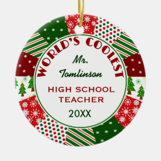 2016 COOLEST TEACHER or Any Occupation Ceramic Ornament