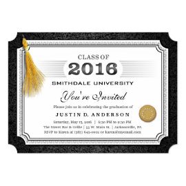 2016 Diploma Graduation Invite Gold Tassel Corners