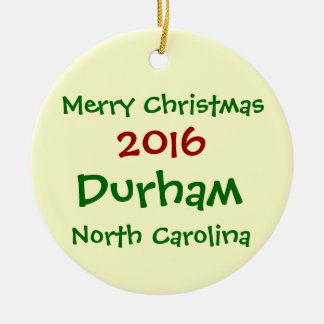 2016 DURHAM NORTH CAROLINA CHRISTMAS ORNAMENT