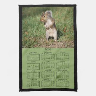 2016 Eastern Gray Squirrel Cloth Calendar Hand Towels