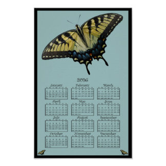 2016 Eastern Tiger Swallowtail calendar Poster