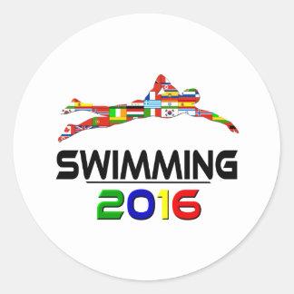 2016: El nadar Pegatina Redonda