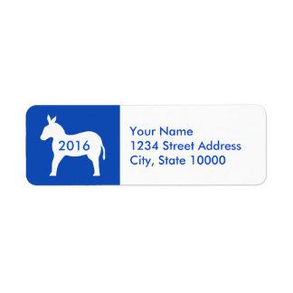 2016 Election Blue White Democrat Donkey Label