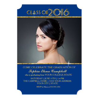 2016 Elegant Faux Glitter Confetti Graduation Part Card