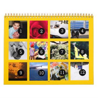 2016 fácil como 1 a 12 su amarillo del calendario