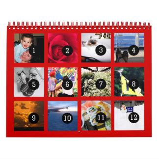 2016 fácil como 1 a 12 su propio rojo del calendarios de pared