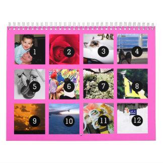 2016 fácil como 1 a 12 su propio rosa del calendarios de pared