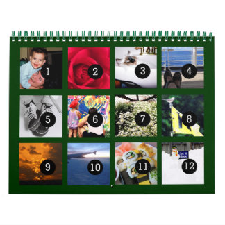 2016 fácil como 1 a 12 su propio verde del calendarios