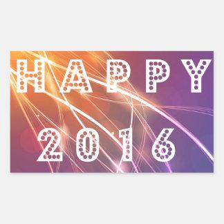 2016 feliz pegatina rectangular