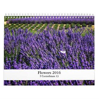 2016 flores y escritura calendario de pared