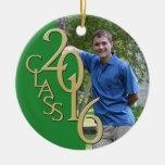 2016 Grad Photo Green and Gold Ceramic Ornament