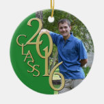 2016 Grad Photo Green and Gold Double-Sided Ceramic Round Christmas Ornament