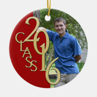 2016 Graduate Photo Red and Gold Double-Sided Ceramic Round Christmas Ornament