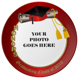 2016 Graduating with Honors Red Porcelain Plate