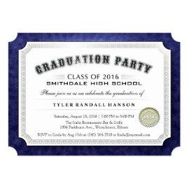 2016 Graduation Diploma Navy Blue & White Invite