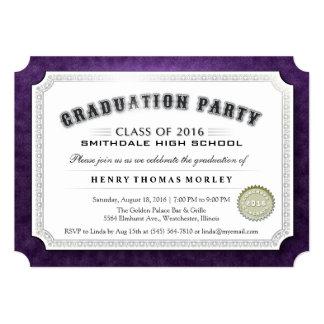 2016 Graduation Diploma Purple & White Invite