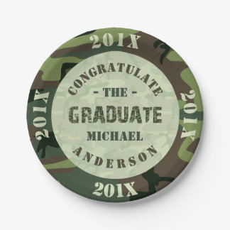 2016 Graduation Party Camouflage Custom Camo Paper Plate