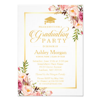 2016 Graduation Party Chic Floral Golden Frame Card