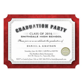 2016 Graduation Party Diploma Red & White Invite