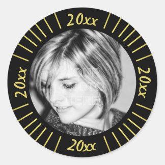 2016 Graduation Party Photo Black Gold Mod Stripes Classic Round Sticker