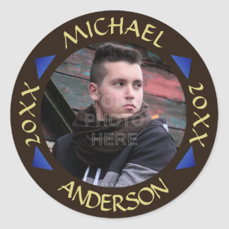 2016 Graduation Party Photo Personalized Modern Classic Round Sticker