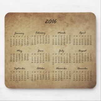 2016 Grunge Parchment Calendar Mouse Pad