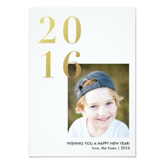 2016 Happy New Year Gold Holiday Photo Card