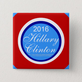 2016 Hillary Clinton Square with Skyblue Tips Pinback Button
