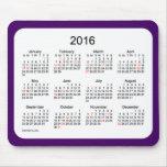 2016 Holiday Calendar Purple Mouse Pad