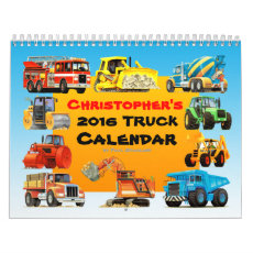2016 Kids Custom Construction Truck Calendar