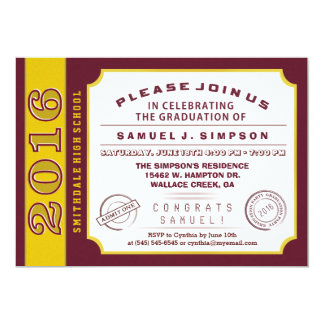 2016 Maroon Red & Gold Ticket Graduation Invite