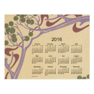 2016 Mini Calendar by Janz Art Nouveau Postcard