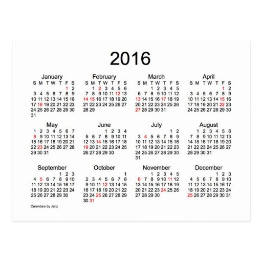 2016 Us Mini Monthly Printable Calendar | Search Results | Calendar ...