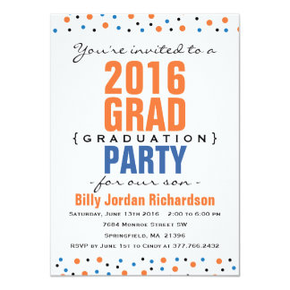 2016 Modern Graduation Party Invitation - Orange