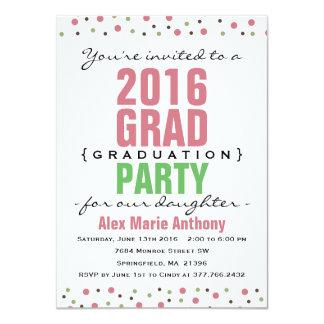 2016 Modern Graduation Party Invitation - Pink