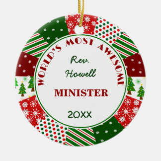 2016 Most Awesome Minister or Alternate Name Ceramic Ornament