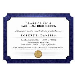 2016 Navy Blue Border Diploma Graduation Invite