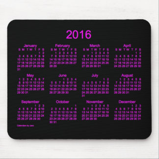 2016 Neon Pink Calendar by Janz Mouse Pad