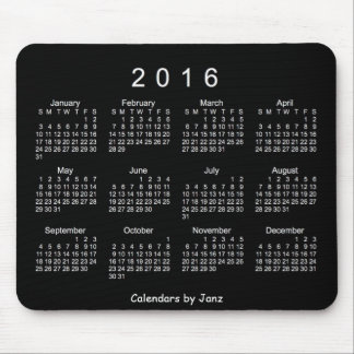 2016 Neon White Calendar by Janz Mouse Pad