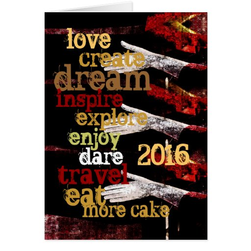 2016 new year motivational resolutions greeting card