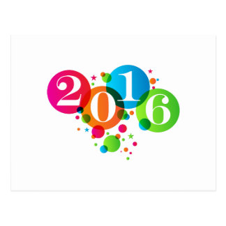 2016 New Years Bubbles and Stars Postcard