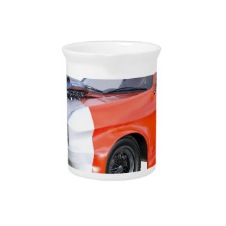 2016 Orange and White Muscle Car Beverage Pitcher